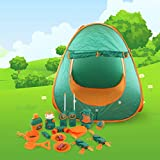 PicassoTiles PTC20 20 Piece Camping Gear Tools Adventure Set Including Walkie Talkie, Camping Tent,...