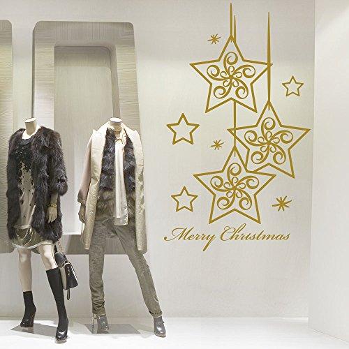 decorazioni natalizie negozi kina NT0088 Vetrofania Natalizia per vetrine Negozi - Decorazioni adesive per Natale 60x120 cm - Oro