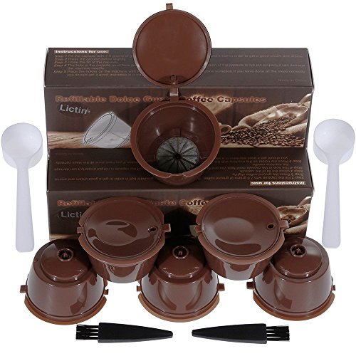 Lictin 6 Pack Dolce Gusto Kaffeekapsel Wiederverwendbare i cafilas Kaffeekapselfüllung Ersatz Kapsel Kaffeeduck, für Circolo, Genio, Mini Me, Mini, Piccolo, Esperta