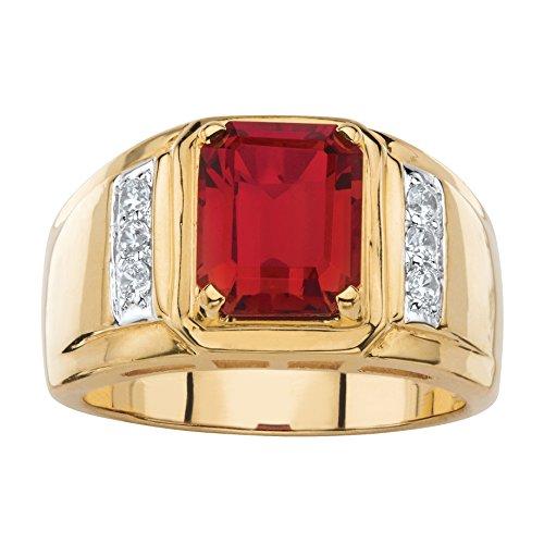 Palm Beach Jewelry Men's Genuine Red Garnet Diamond 18k Gold-Plated Classic Ring (.21 cttw) Size 10