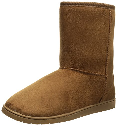 DAWGS Women's 9 Inch Faux Shearling Microfiber Vegan, Chestnut, 5 M US