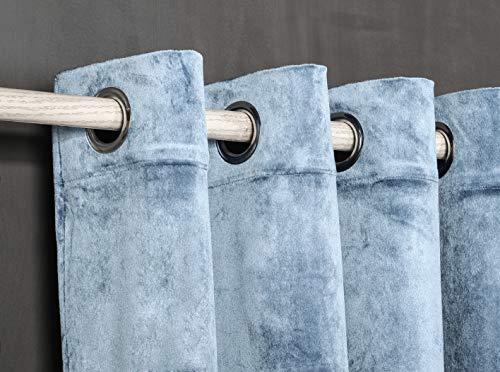 PimpamTex – Blickdichter Vorhang Wärmedämmender Samt Touch, 260x140 cm, mit 8 Ösen für Wohnzimmer, Schlafzimmer & Räume, blickdichte Vorhänge Modell Samt – Indigo