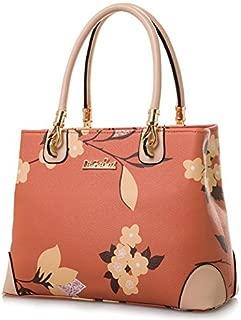 Womens Vintage Shoulder Bag All-over Flowers Pu Leather Tote Purse Cross Body Handbag