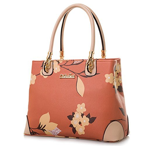 Womens Vintage Shoulder Bag All-over Flowers Pu Leather Tote Purse Cross  Body Handbag a3e7372d38