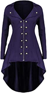 Macondoo Women's Casual Outerwear Goth Punk Double-Breasted Trench Coat