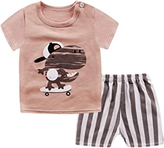 RONSHIN 2pcs/Set Boys Girls Soft Cotton Short Sleeved Home Wear Coffee Color 110/70 Recommended Height 105-115cm