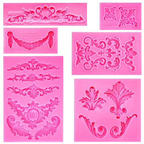 Rainmae Baroque Style Curlicues Scroll Lace Fondant Silicone Mold for Filigree Mold 3D Sculpted Flower Cake Border Decoration, Cupcake Topper, Jewelry, Polymer Clay, Crafting Projects