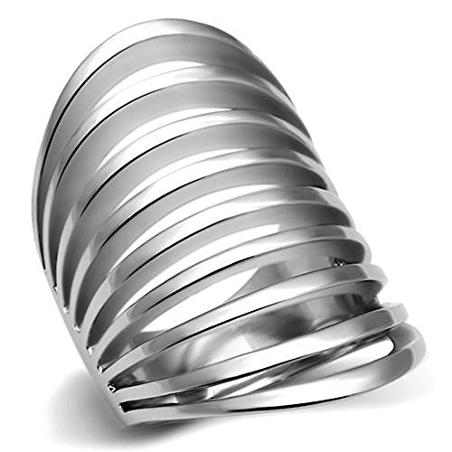 Classy Not Trashy Women's Fashion Jewelry Ring, Premium Grade Stainless Steel Sliced Dome Shaped Ring Size 9