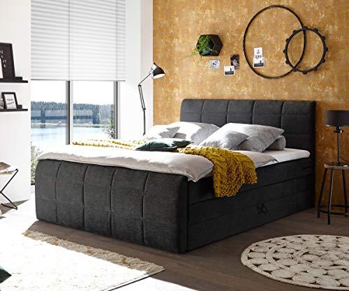 DELIFE Bett Astana Feingewebe Graphite 180 x 200 cm mit Bettkasten