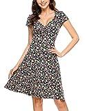 Beyove Damen Jersey Kleid Blumen Skaterkleid V-Ausschnitt Sommerkleider Muster Jerseykleid Sexy Kurz oder Langarm A-blau XXL