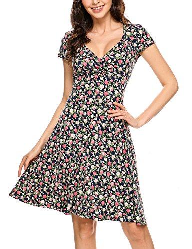 Beyove Damen Jersey Kleid Blumen Skaterkleid V-Ausschnitt Sommerkleider Muster Jerseykleid Sexy Kurz oder Langarm, Farbe: A-blau, Size XL