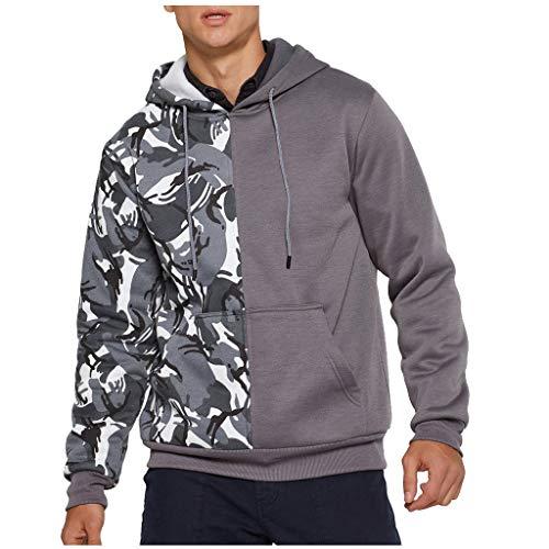 Kapuzenpullover Herren Casual für Pullover für Herren, Holeider Basic Hoody Sweatshirt Herren Langarm Hoodie Herbst Winter Camouflage Patchwork Mode Streetwear Kapuzenpulli