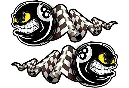 24/7stickers MG326 XXL / 2X Eightball Aufkleber je 20 x 8,5cm 8 Billiardkugel schwarz Flagge Biker Hotrod Rockabilly USA