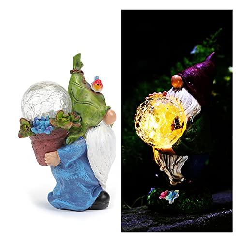 Duvets Nani da Giardino,Giardino GNOME GNOME Statue Solare,Resistenti alle intemperie,Divertenti Statue GNOME all'aperto con luci a LED Solare,Genie with Lamp per Interni ed Esterni