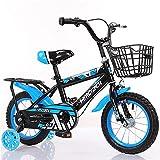Bicicleta Infantil con Ruedas De Apoyo, Unisex, AleacióN De Acero Al Carbono, Doble Sistema De Frenado, El Manillar del SillíN Se Puede Ajustar Libremente
