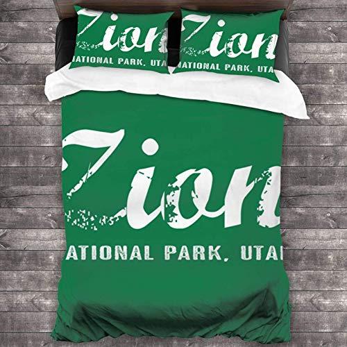 Zion National Park - Juego de cama de 3 piezas (2016 x 180 cm, poliéster, súper suave)