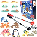 Christmas Rolling Golf Game Gift for Boys Girls Age 4, 5, 6, 7 Years Old, Toy for Toddler with Golf Clubs, Balls, Sea Animal Goals,Tees and Brackets, Indoor Outdoor Hand-eye Coordination Activity