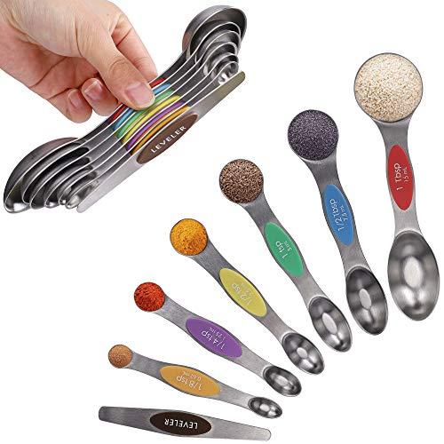 Juegos de Cucharas Medidoras Magnéticas de Acero Inoxidable de Doble Cara Apilable Portátil de Medición de Cucharas Set para Ingredientes Líquidos y Secos, Juego de 7 (Multicolor)