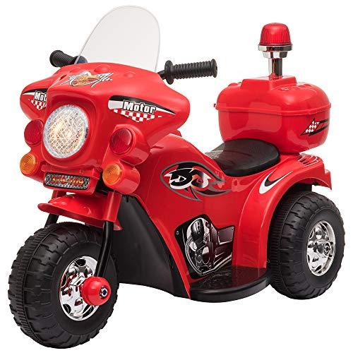 homcom Moto Elettrica 6V per Bambini 18-36 Mesi con 3 Grandi Ruote, Luci e Suoni Realistici, Rosso, 80x35x52cm