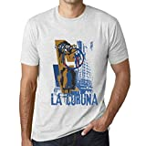 One in the City Hombre Camiseta Vintage T-Shirt Gráfico LA CORUNA Lifestyle Blanco Moteado