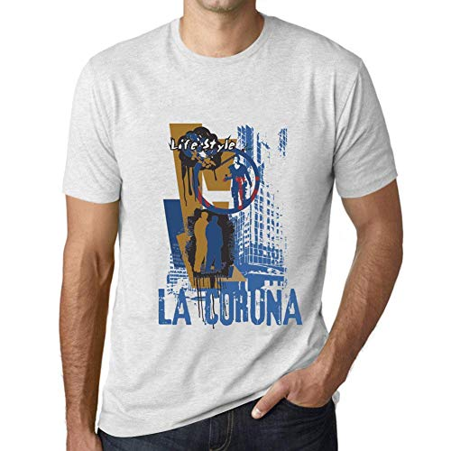 One in the City Hombre Camiseta Vintage T-Shirt Gráfico LA CORUNA Lifestyle Blanco Moteado
