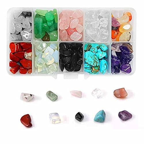 Cuentas de Piedra, 10 Colors Cuentas de Piedra Lava Naturales para Hacer Joyas, Collares, Pulseras (200-230 Piezas)