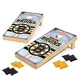 Wild Sports NHL Boston Bruins 2' x 4' Wood Tournament Cornhole Set - Direct Print Vintage Triangle - Outdoor Set with Eight Bean Bags