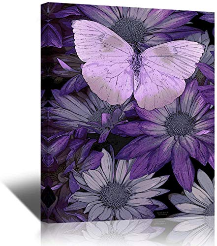 Purple Butterfly Painting Giclee Print on Canvas, Stretched and Framed, Modern Home Decoration for Living Room, Bedroom, Bathroom Decor Wall Art,12 by 16Inch,Ready to Hang