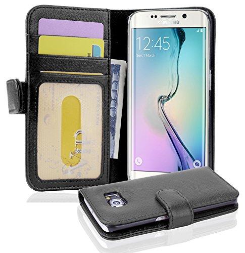 Cadorabo Funda Libro para Samsung Galaxy S6 Edge en Negro ÓXIDO - Cubierta Proteccíon con Cierre Magnético e 3 Tarjeteros - Etui Case Cover Carcasa