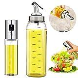 Oil Bottle Olive Oil Dispenser Oil Sprayer Set for Cooking 17OZ Lead-Free Glass Bottle for Oil Drip...