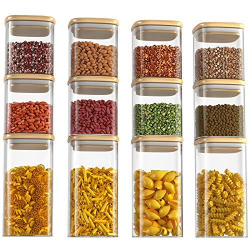 Vorratsdosen Glas 12er Set, FINEW Hochwertig Quadratische Glasbehälter Gewürzgläser mit Deckel, Luftdicht Vorratsgläser Glasgläser, Geeignet für Kaffee, Tee, Keks, Süßigkeiten, Nuss, Gewürz, Körner