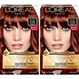 L'Oreal Paris Superior Preference Fade-Defying + Shine Permanent Hair Color, 6AB Chic Auburn Brown, Pack of 2, Hair Dye