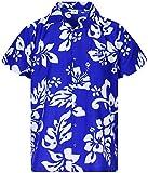 King Kameha Funky Camicia Hawaiana, Hibiscus, Blu Indaco, XXL