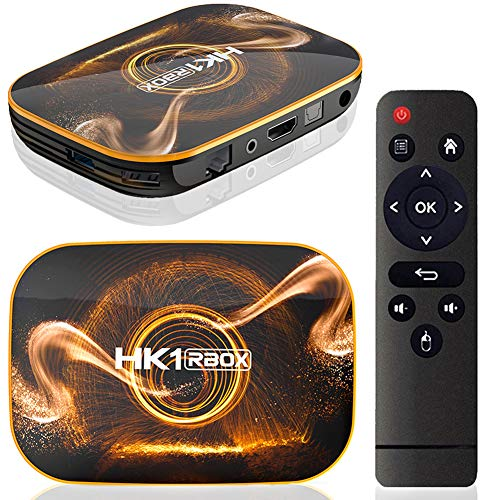 Android TV Box 10.0 4GB 64GB Smart TV Box Streaming Media Player RK3318 USB 3.0 Ultra HD WiFi Bluetooth 4.0 Set Top Box with Mini Wireless Backlit Keyboard HK1 RBOX set-top box,4GB/64GB American stand
