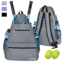 【PERFECT TENNIS BAG】 ACOSEN tennis backpack have 5 pockets to hold all your tennis necessities and gear to keep organized, which is convenient for you to carry and keep your tennis rackets safe. Also 1 large water bottle pocket on both sides with ela...