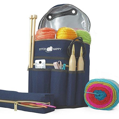 Designer Stitch Happy Knitting Starter Kit: 20 Piece Knitting Kit for Beginners & 7 Pocket Yarn Bag, Signature Yarn Storage - Navy