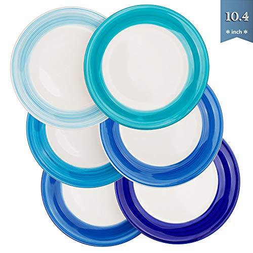 Reomore 10.4 inch Dinner Plate Set, 6-pack Ceramic Pasta/Salad/Dessert Plate Dishwasher Microwave...