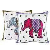 Juego de 2 fundas de cojín, 45 x 45 cm, algodón, con bordados en patrón de elefantes, resistente con cremallera estable, decoración del hogar, para sofá, salón, dormitorio