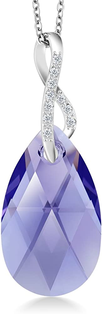 Gem Stone King Beautiful Tear Drop Ribbon Pendant on 18inches Chain Made with Crystals