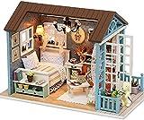 Cuteroom Kit de Dormitorio y Muebles de Miniatura Artesanal de Madera DIY para casa de muñecas Muestran Fotos e Instrucciones en inglés