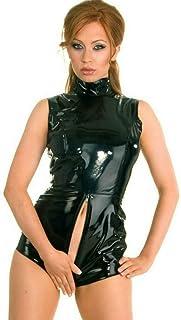 Gothic Black Faux Leather PVC Wetlook Romper Bodysuit Fetish Catsuit Dress Zipper Dance Costume