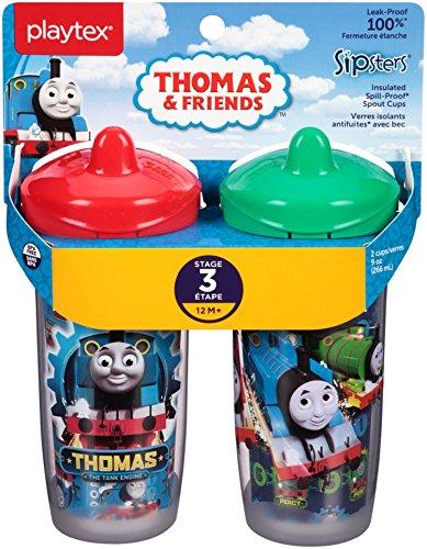 Playtex Sipsters Stage 3 Thomas The Train Lot de 2 tasses pour bébé Couleurs assorties