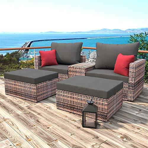 Bellemave 5 Pieces of Wicker Patio Furniture, Outdoor Patio Segmented Wicker Lawn Conversation Sofa Set, Suitable for Outdoor, Terrace, Poolside, Garden (Brown)