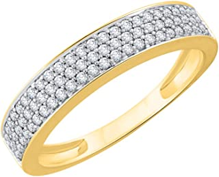Diamond Wedding Band in 10K Yellow Gold Size-6.75 G-H,I2-I3 1//6 cttw,