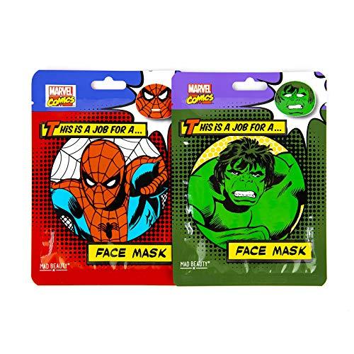 MAD Beauty Pack Mascarillas Para El Cuidado de la Cara, con Licencia Oficial Marvel, Translúcido, Coco, 2 Unidades