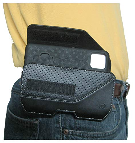 Nite Ize Executive Leather Phone Pouch Belt Holder for Samsung Galaxy S21 / S21 + Plus Phone Holster, Rugged and Heavy Duty, Strong, Secure Belt Clip, Compatible with Slim-Fit Cell Phone Case