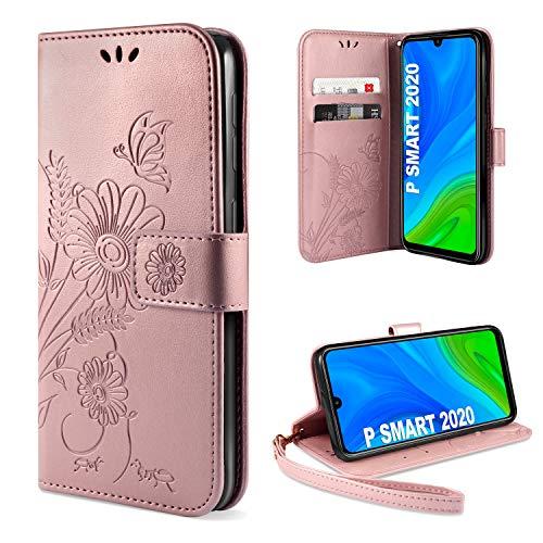 ivencase für Huawei P Smart 2020 Hülle Flip Lederhülle, Huawei P Smart 2020 Handyhülle Book PU Leder Tasche Hülle mit Kartenfach & Magnet Kartenfach Schutzhülle für Huawei P Smart 2020 (Pink)