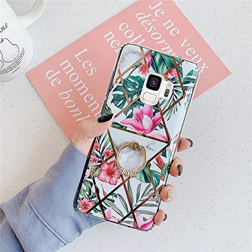 [Marmor Muster] Ysimee Hülle Kompatibel mit Samsung Galaxy S9-360 Grad Ring Stand Cover Stoßfest Handyhülle, Marble Case Dünn Weich Rückschale aus Handyhülle Schutz Case Cover, Marmor - Rot Blume