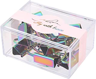 MEI YI TIAN 10 Pack Colorful Rainbow Binder Clips Paper Clamps Medium for Notes Letters Memos Documents Paper Metal Clips ...