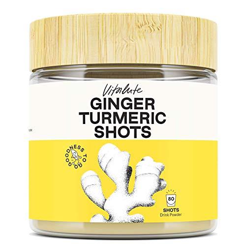80 Ginger Shots with Turmeric - No Sugar - Curcumin, Vitamin C & Zinc - 80 Ginger Shot or Ginger Tea to go - Drink Powder